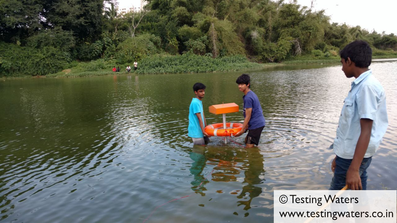 Testing the system in Chunchughatta Lake